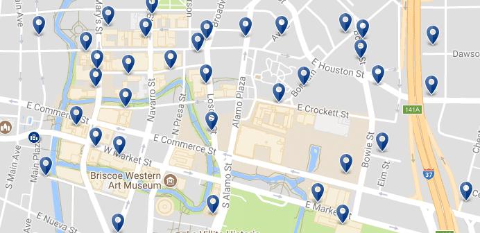 San Antonio Riverwalk - Haz clic para ver todos los hoteles en un mapa