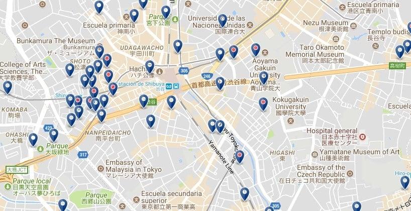Tokio - Shibuya - Haz clic para ver todos los hoteles en un mapa