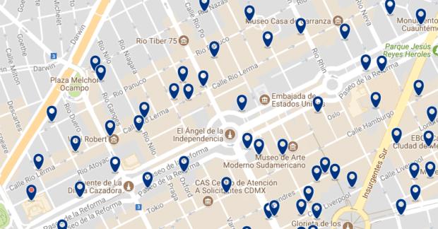 Ciudad de México - Reforma - Haz clic para ver todos los hoteles en un mapa