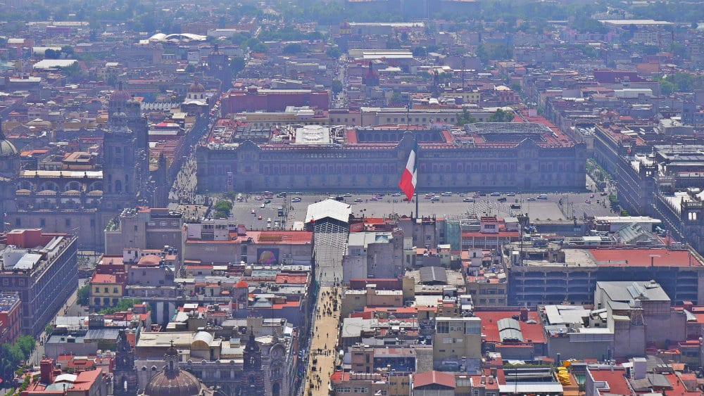 Zócalo y catedral de Ciudad de México desde Torre Latinoamericana