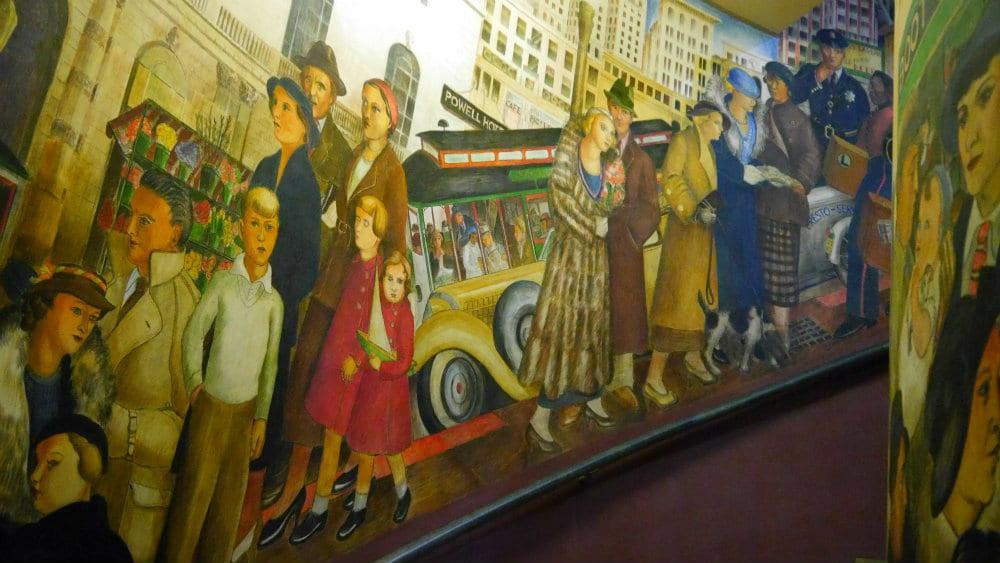 Mural de la vida típica en el San Francisco de los años 30 - Coit Tower