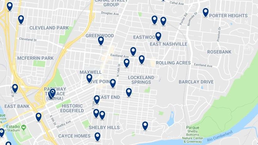 Nashville - East Nashville - Haz clic para ver todos los hoteles en un mapa