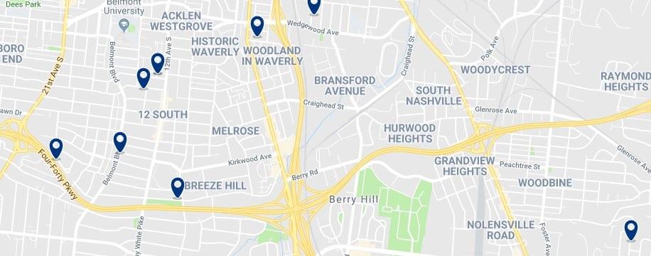 Nashville - South Nashville - Haz clic para ver todos los hoteles en un mapa