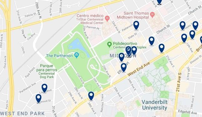 Nashville - West End - Haz clic para ver todos los hoteles en un mapa