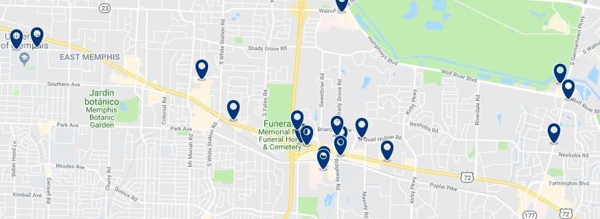 Memphis - East Memphis - Haz clic para ver todos los hoteles en un mapa
