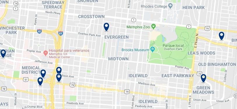 Memphis - Midtown - Haz clic para ver todos los hoteles en un mapa