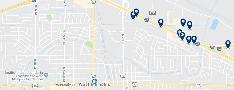 Memphis - West Memphis - Haz clic para ver todos los hoteles en un mapa
