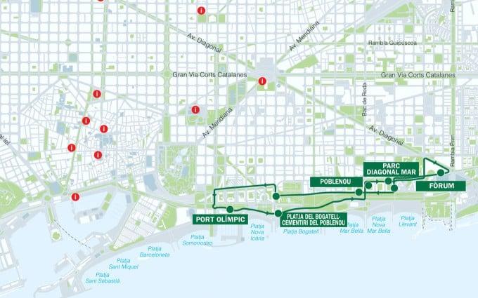 Ruta verde del bus turístic de Barcelona