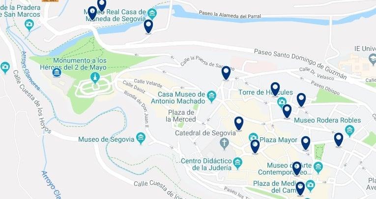 Segovia - Judería y zona del Alcázar - Clica sobre el mapa para ver todo el alojamiento en esta zona