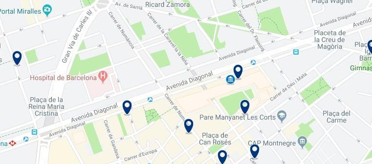 Dónde dormir en Barcelona para vida nocturna - Al norte de la Avenida Diagonal - Haz clic aquí para ver todos los hoteles en un mapa