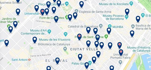 Dónde dormir en Barcelona para vida nocturna - Ciutat Vella - Haz clic aquí para ver todos los hoteles en un mapa