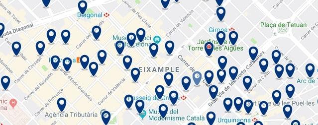 Dónde dormir en Barcelona para vida nocturna - Eixample - Haz clic aquí para ver todos los hoteles en un mapa
