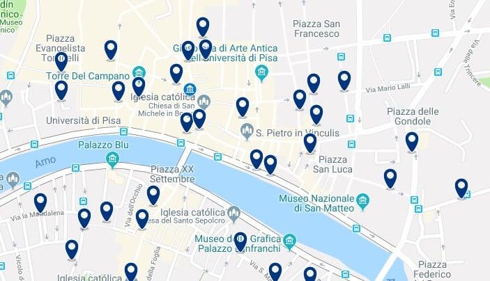 Pisa - Centro Storico - Clica sobre el mapa para ver todo el alojamiento en esta zona