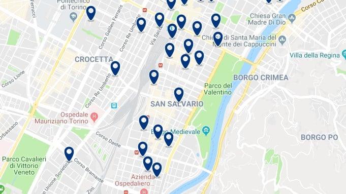 Torino - San Salvario & Parco del Valentino - Clica sobre el mapa para ver todo el alojamiento en esta zona