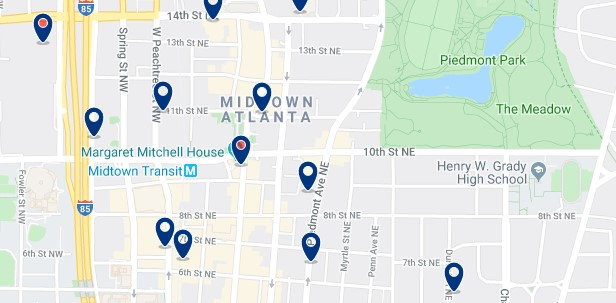 Atlanta - Midtown - Haz clic para ver todos los hoteles en un mapa