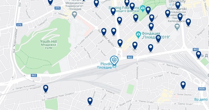 Plovdiv - Cerca de la estación - Clica sobre el mapa para ver todo el alojamiento en esta zona