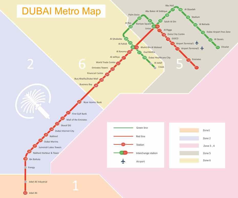 Mapa del metro de Dubái