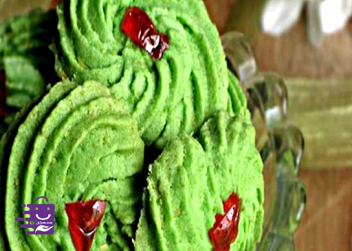 Kue Semprit Bunga hijau ceri