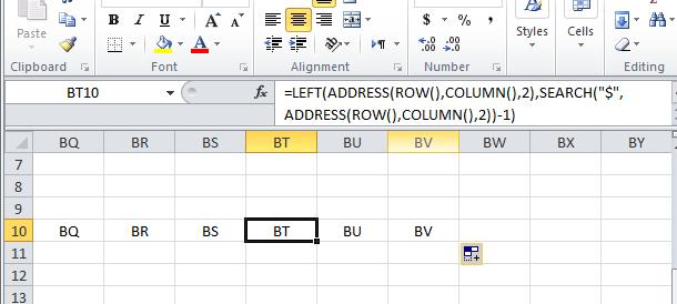 Get column names inside cell