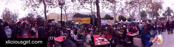 panorama of the outside food area
