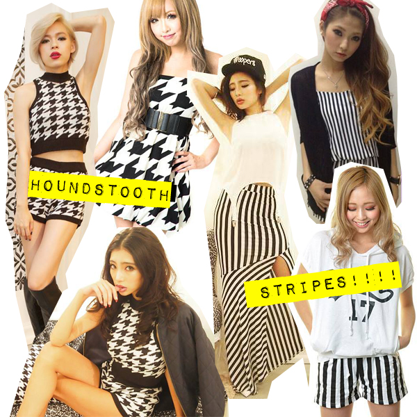 september 2013 gyaru fashion trends stripes and houndstooth