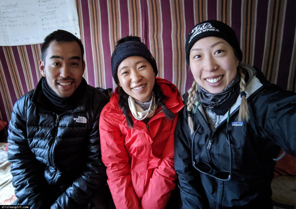 with friends at lobuche