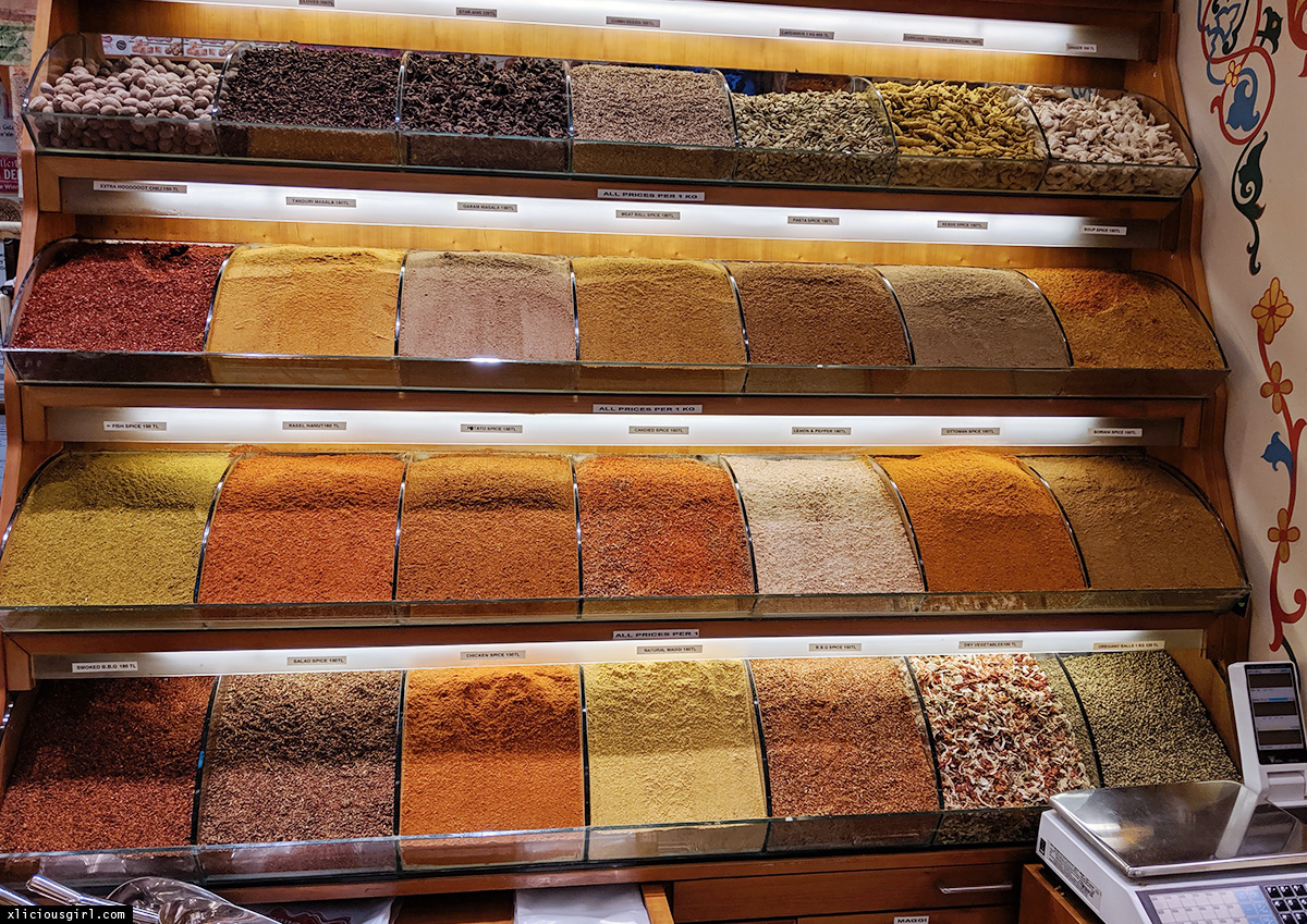 a wall of herbs and spices