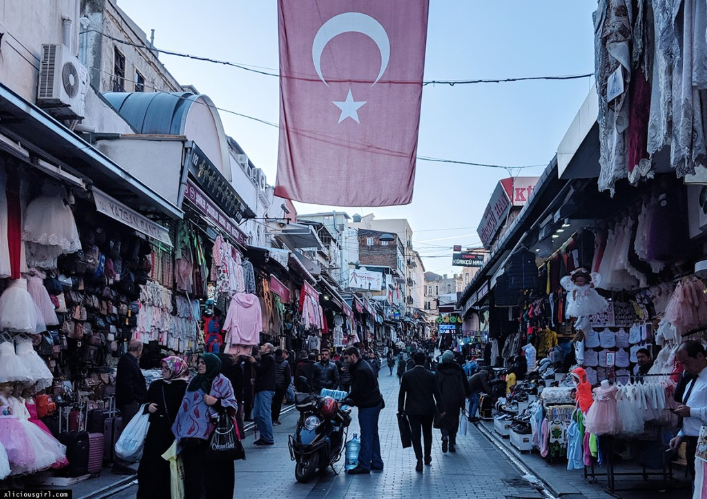 market place with the flag of Turkey hanging
