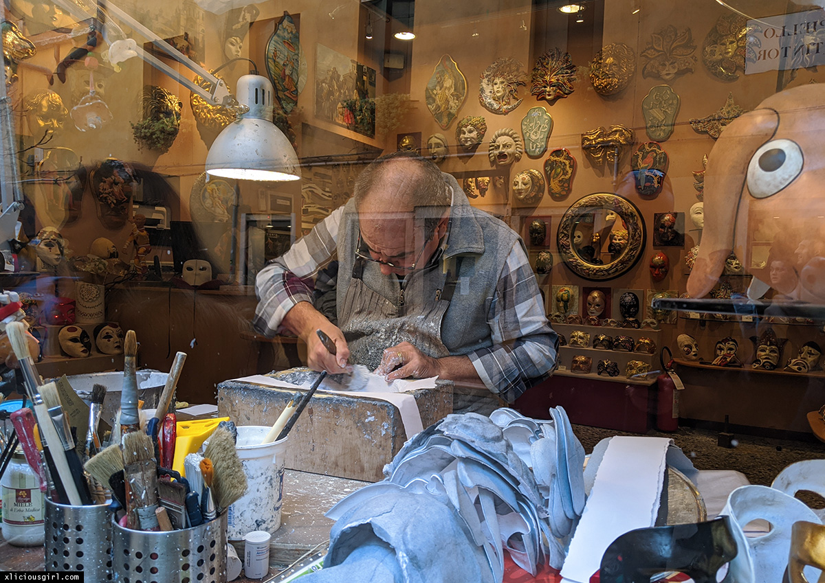 a man making masks