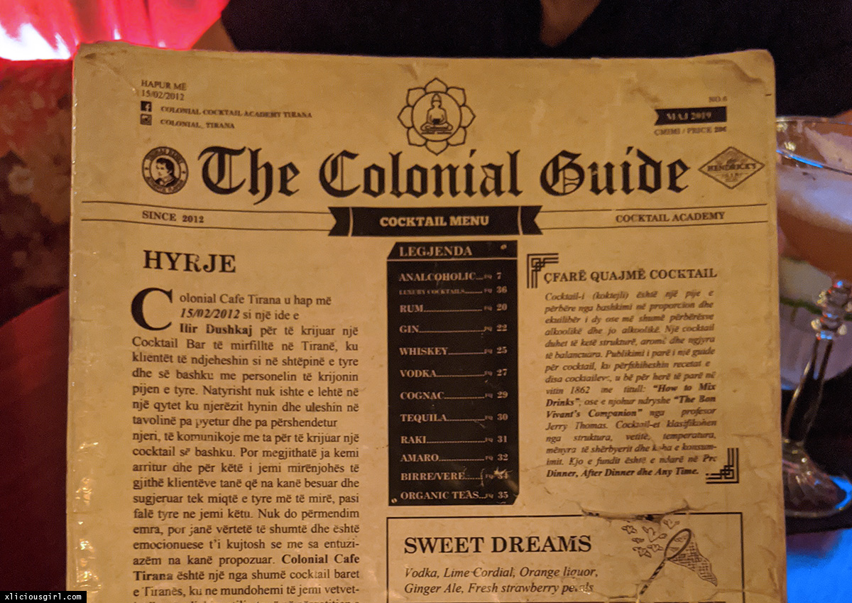 The Colonial Guide cocktail menu