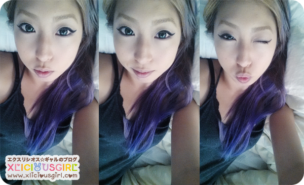 purple hair dye color asian gyaru long hair ombre