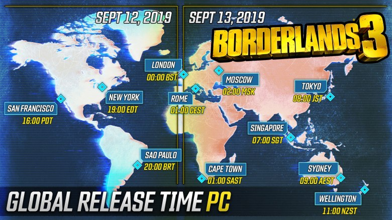 Borderlands 3 Release Times and Pre-download Details BL3 PC schedule full