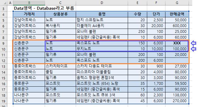 엑셀 데이터베이스 함수 DCOUNTA