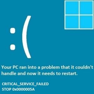 Как исправить ошибку Critical_Service_Failed
