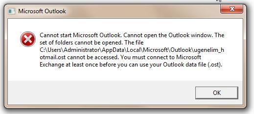 Не удается открыть Outlook при автономной ошибке