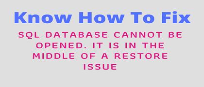 Невозможно открыть базу данных SQL.  Это в середине проблемы восстановления