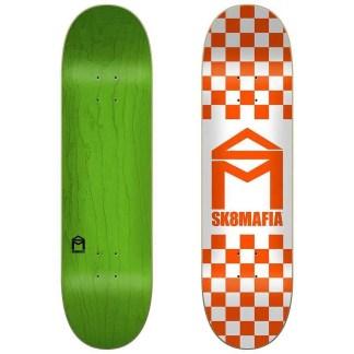 "Sk8Mafia House Logo Checker Orange 8.5"" Skateboard Deck"