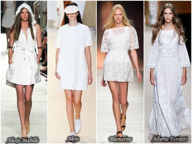 Rochii din stofe albe primavara 2015