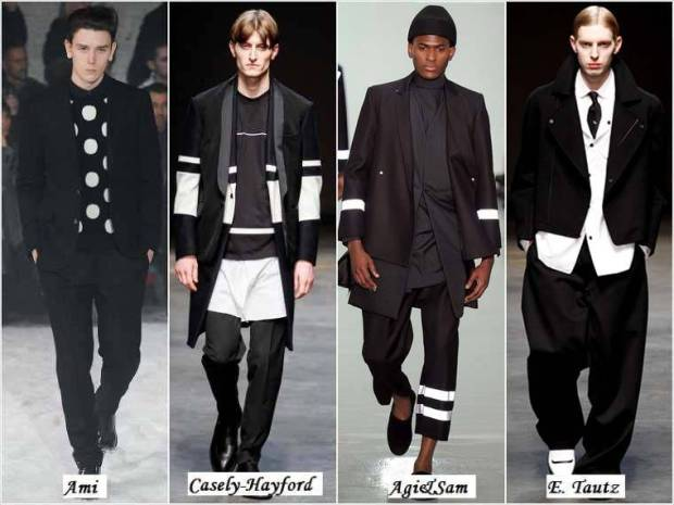 Haine alb-negru la moda barbati iarna 2015