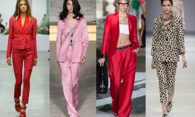 Costume de dama cu pantalon la moda primavara-vara 2015
