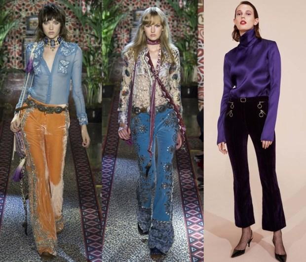 Pantaloni dama 2017 din catifea