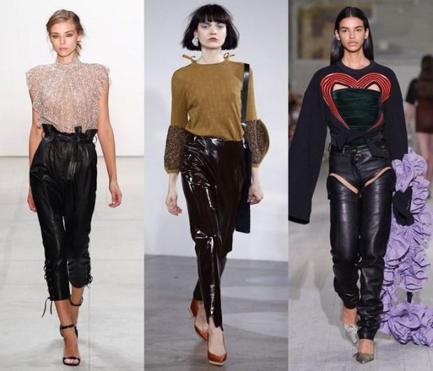 Pantaloni negri din piele la moda in 2017