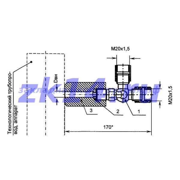 Закладная конструкция ЗК14-2-8-2009 КТНМ-1,6 отборное устройство давления угловое на t до 70°С