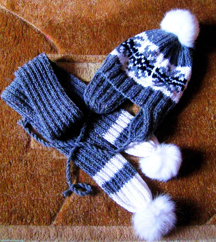 Шапочка с орнаментом и шарф.