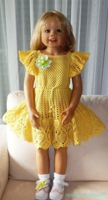 Платье для девочки крючком.