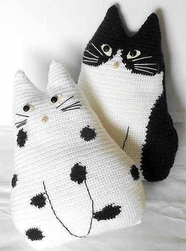Подушка кошка крючком