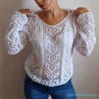 Красивый пуловер ажурным узором спицами