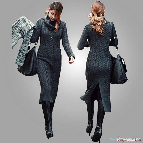 Вяжем красивое платье спицами