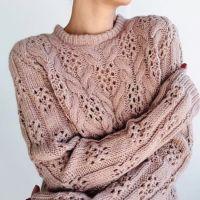Красивый узор для вязания свитера спицами.