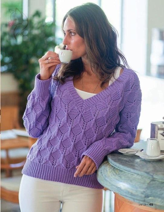 Вяжем красивый пуловер спицами